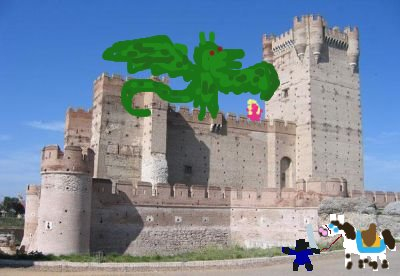 castillo, dragon, princesa, heroe y caballo